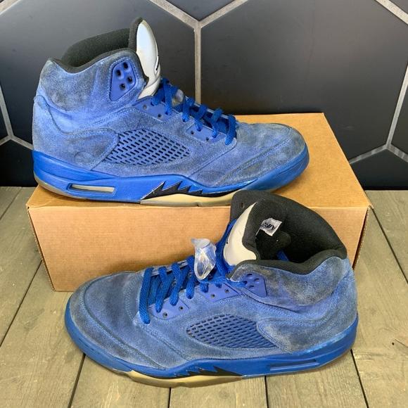 Air Jordan 5 Game Royal Blue Suede Shoe Size 10